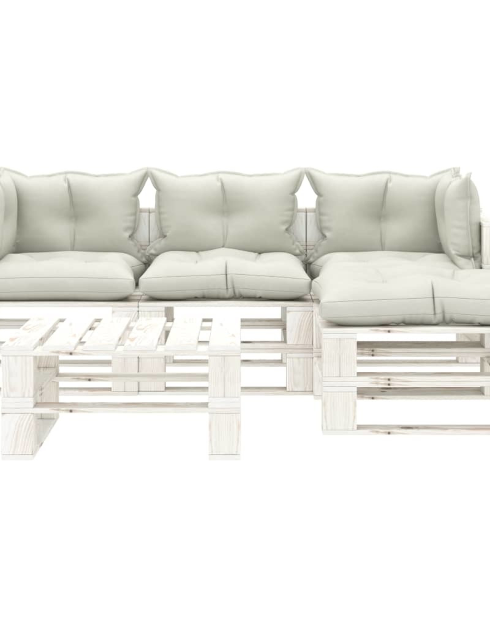 5-delige Loungeset met beige kussens pallet hout
