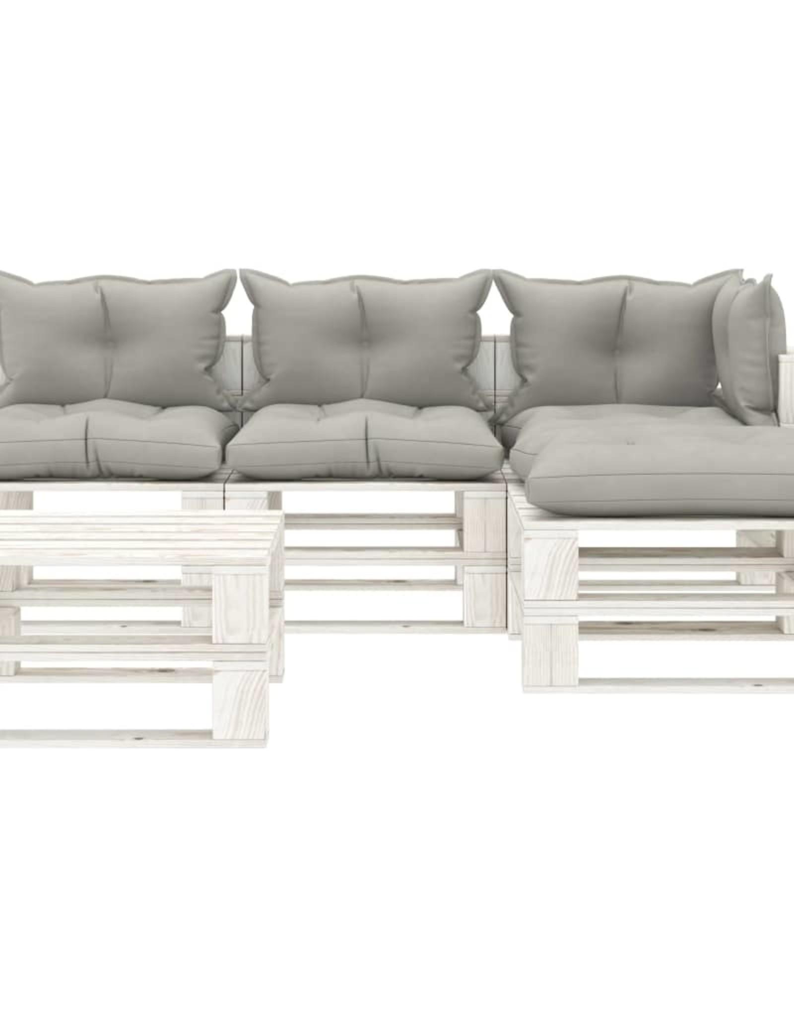 5-delige Loungeset met taupekleurige kussens pallet hout
