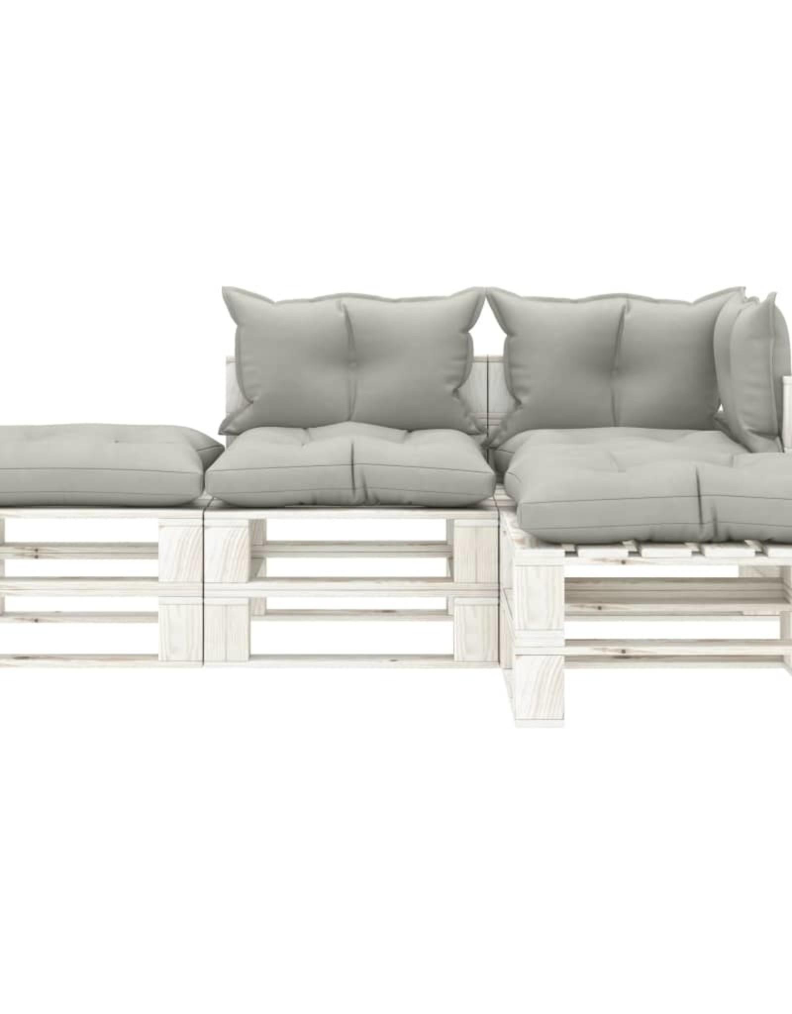 4-delige Loungeset met taupekleurige kussens pallet hout