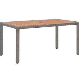 Tuintafel 150x90x75 cm poly rattan en massief acaciahout grijs