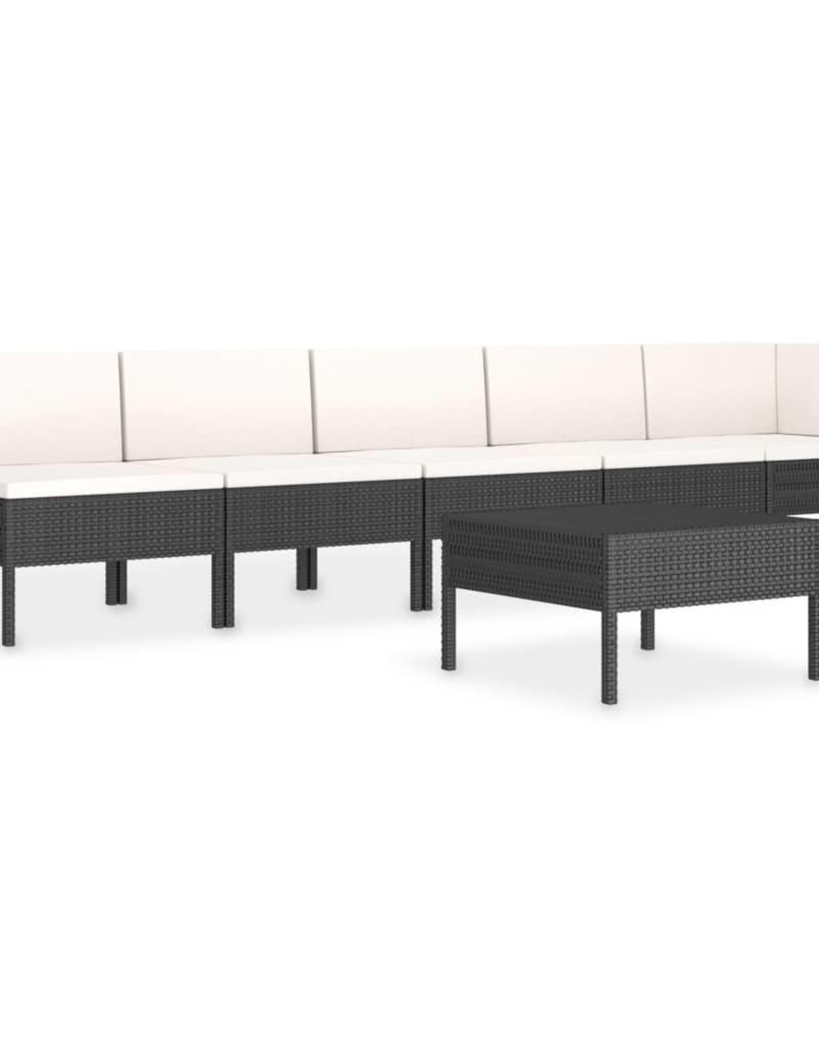 6-delige Loungeset met kussens poly rattan zwart