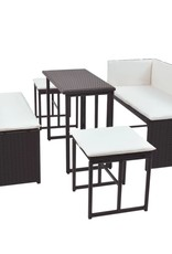 5-delige Tuinset staal poly rattan bruin