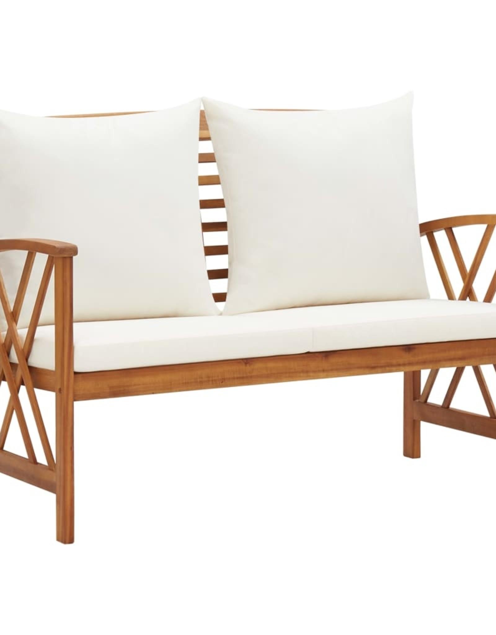 2-delige Loungeset met kussens massief acaciahout