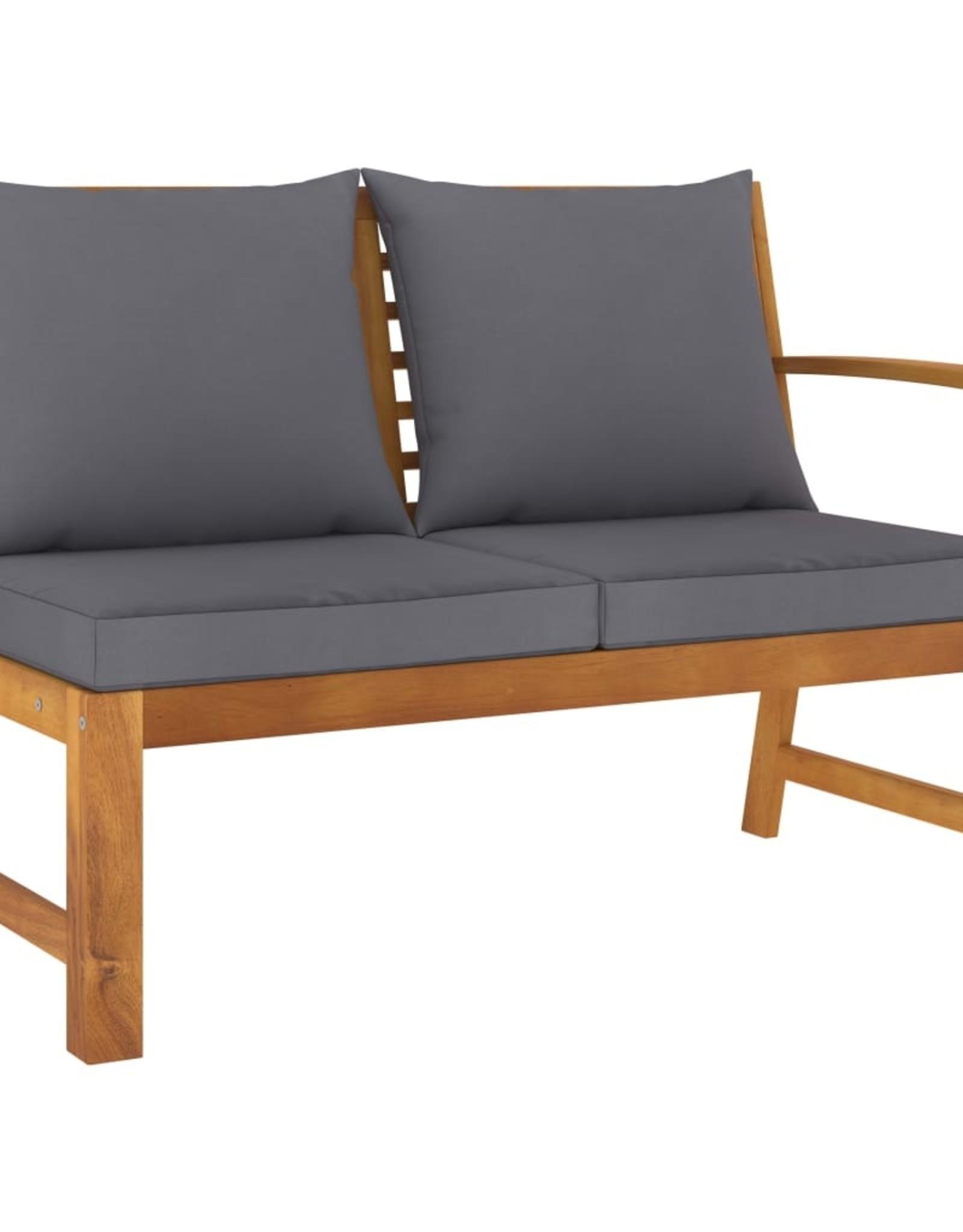 4-delige Loungeset met kussens massief acaciahout
