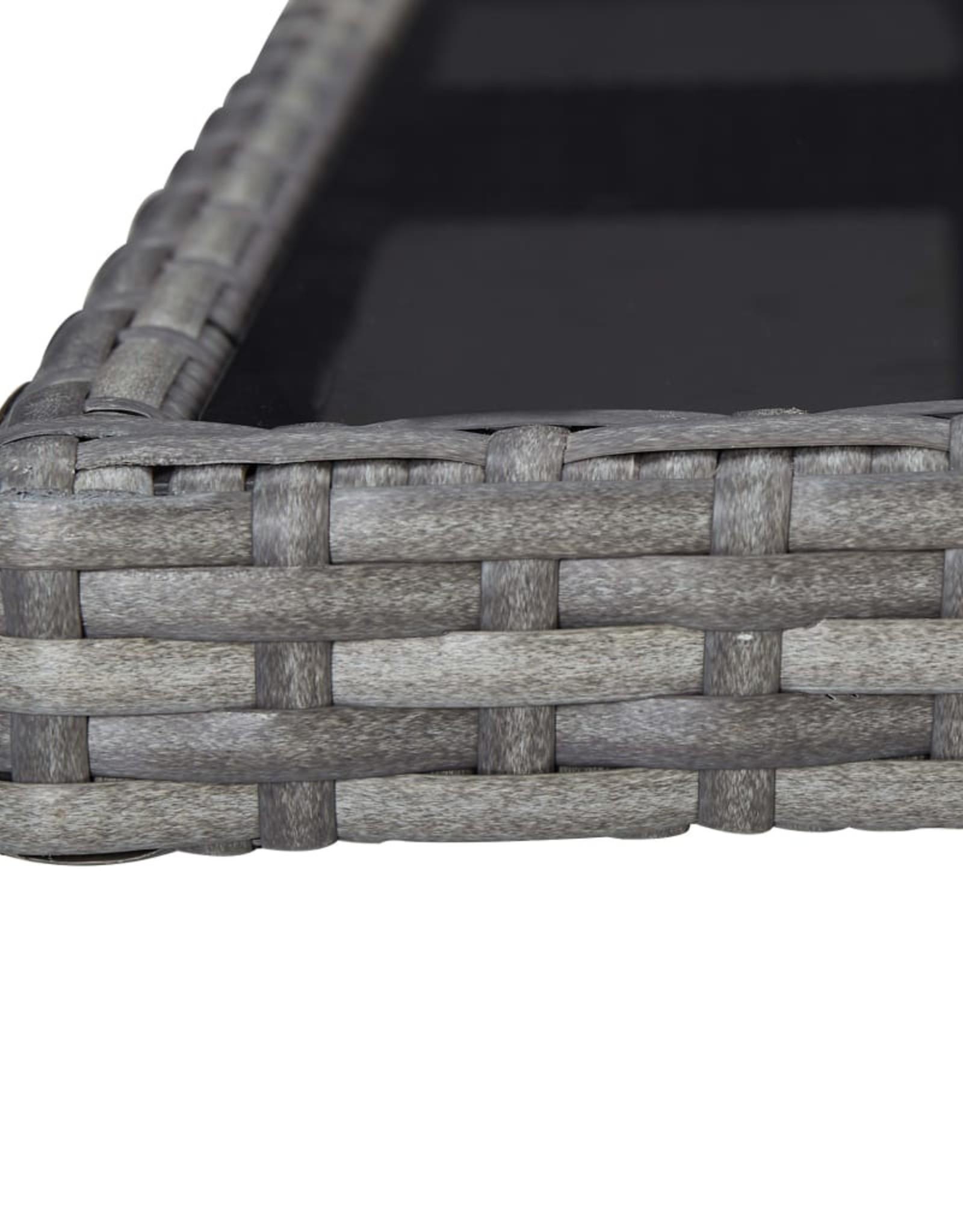 5-delige Tuinset poly rattan en acaciahout grijs