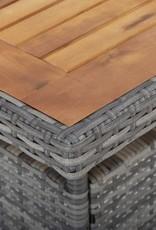3-delige Tuinset poly rattan en acaciahout grijs