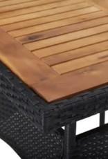 3-delige Tuinset poly rattan en acaciahout zwart