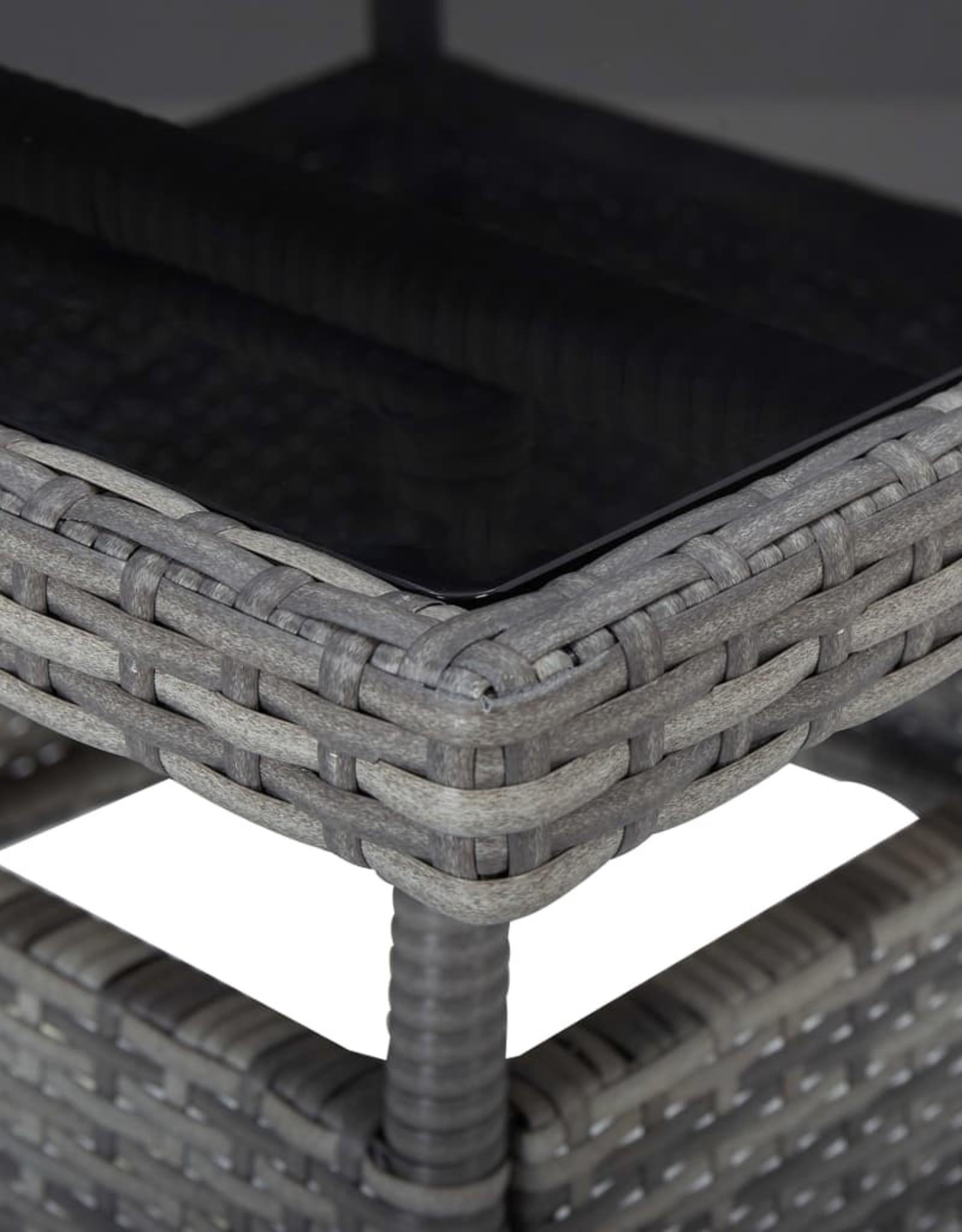 3-delige Tuinset poly rattan en glas grijs