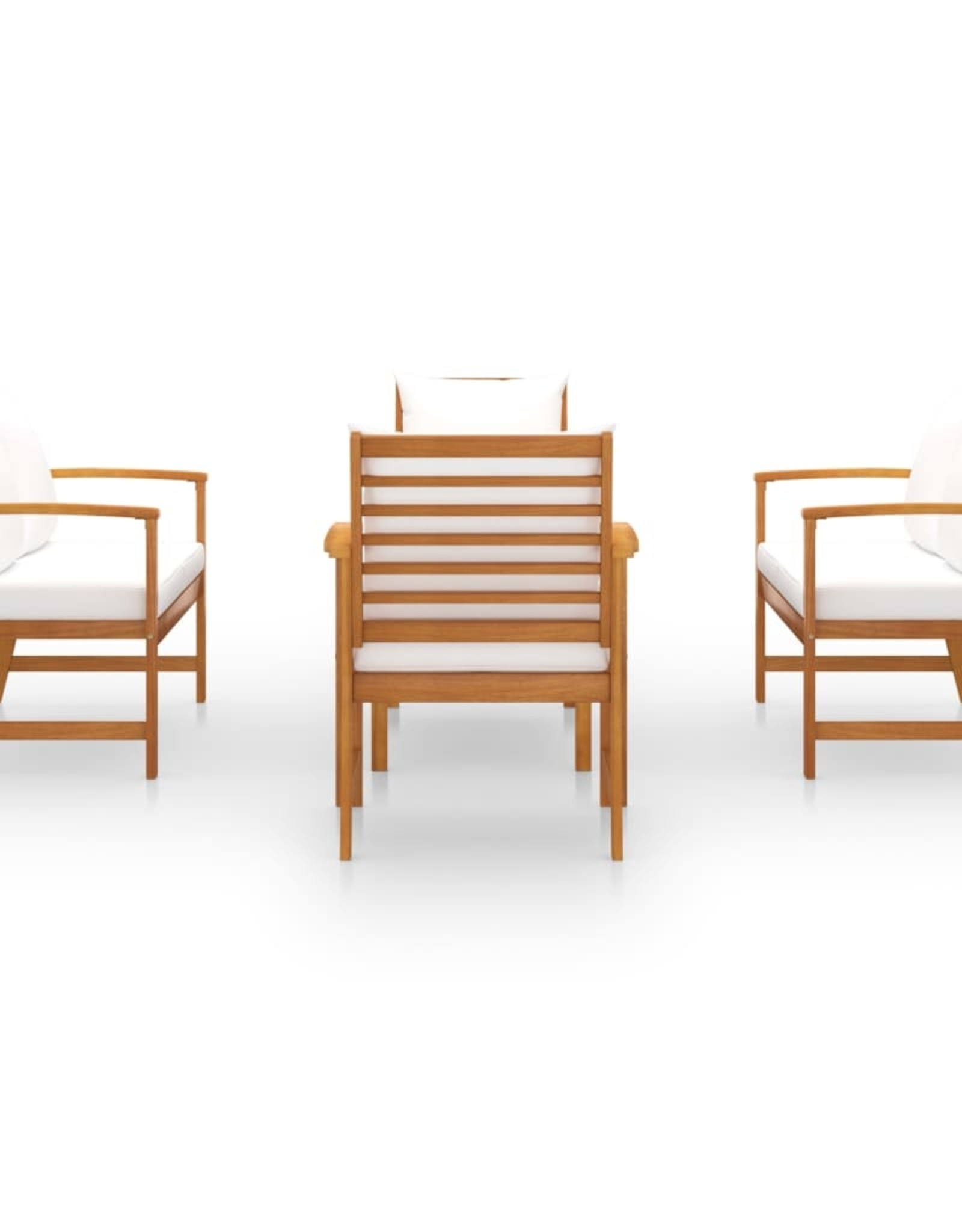 5-delige Loungeset met kussens massief acaciahout