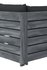 6-delige Loungeset met antracietkleurige kussens pallet hout