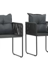 3-delige Tuinset PVC-rattan zwart en bruin