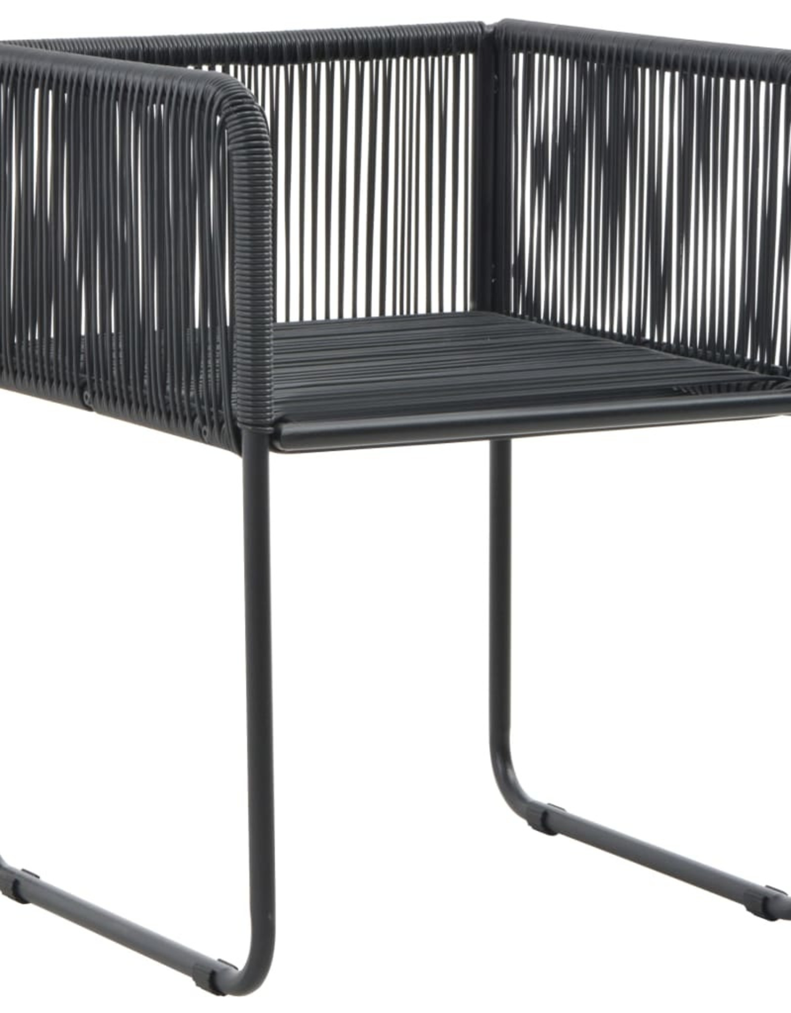 3-delige Tuinset PVC-rattan zwart