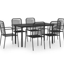 7-delige Tuinset glas en staal zwart