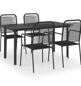 5-delige Tuinset glas en staal zwart