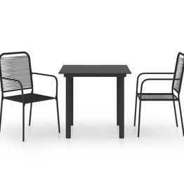 3-delige Tuinset glas en staal zwart