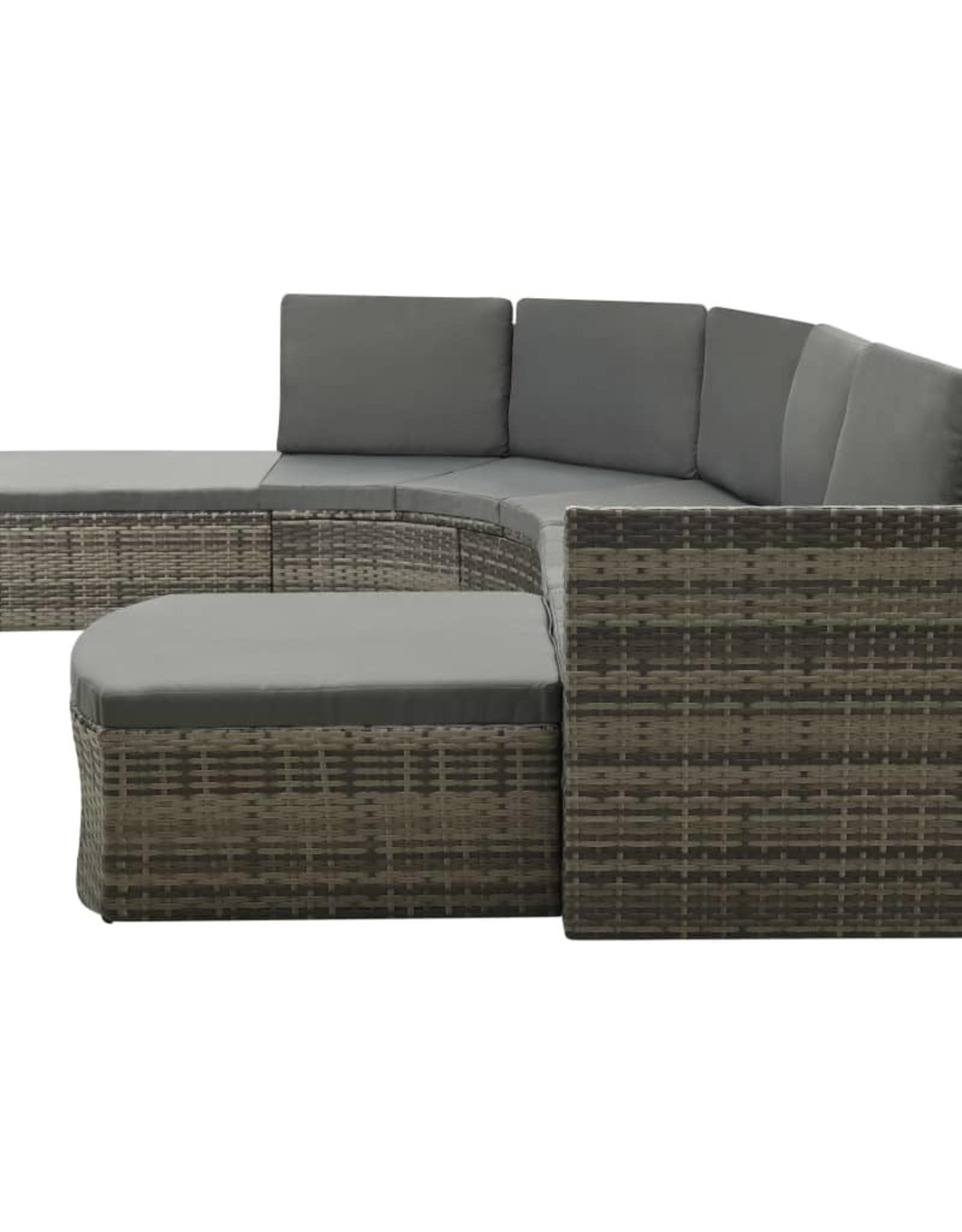 4-delige Loungeset met kussens poly rattan grijs