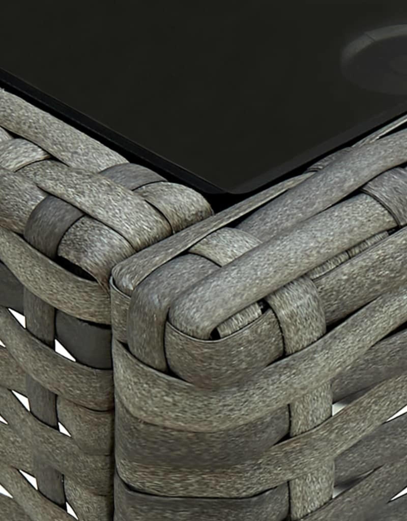 3-delige Bistroset met kussens poly rattan grijs