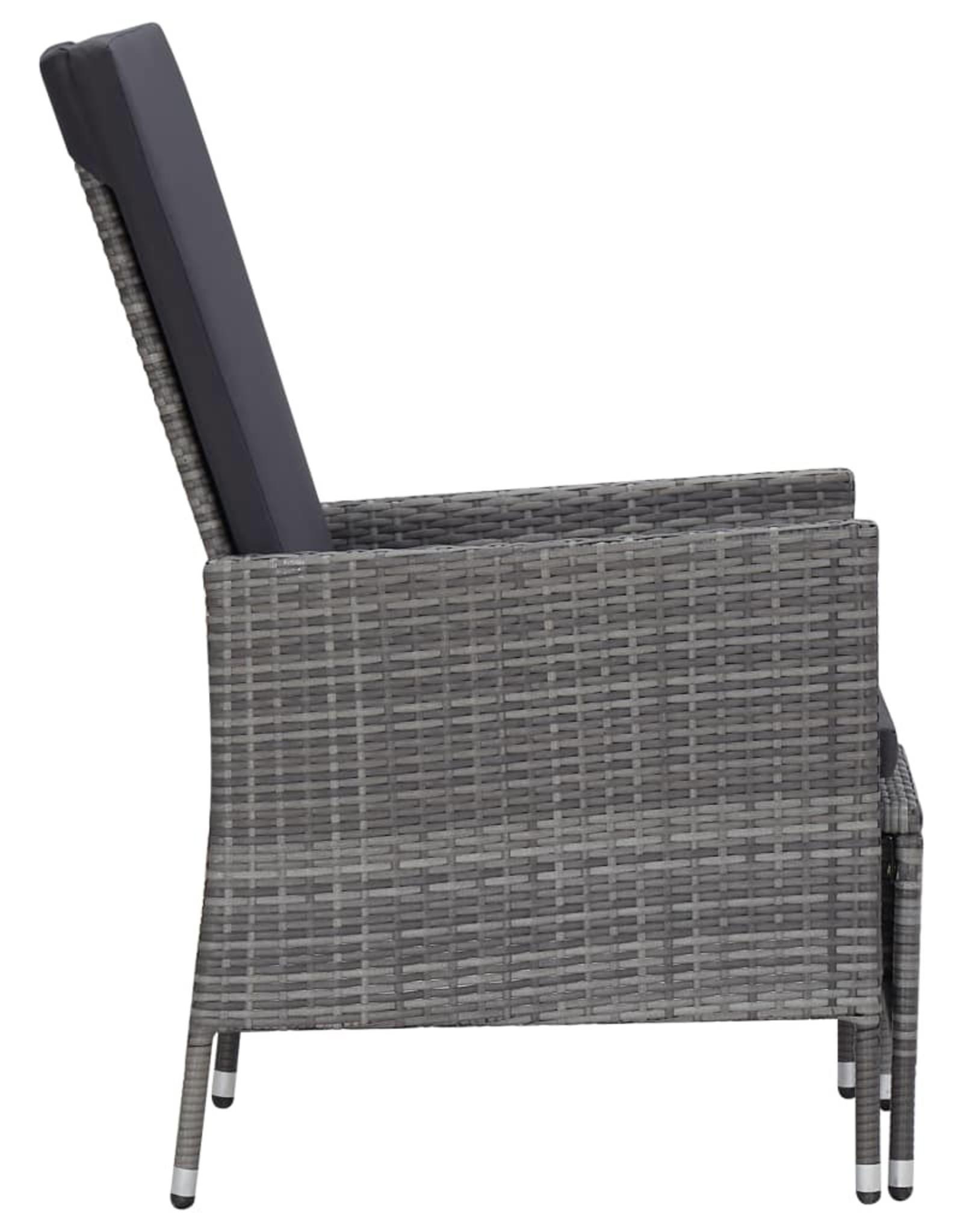 2-delige Loungeset met kussens poly rattan grijs