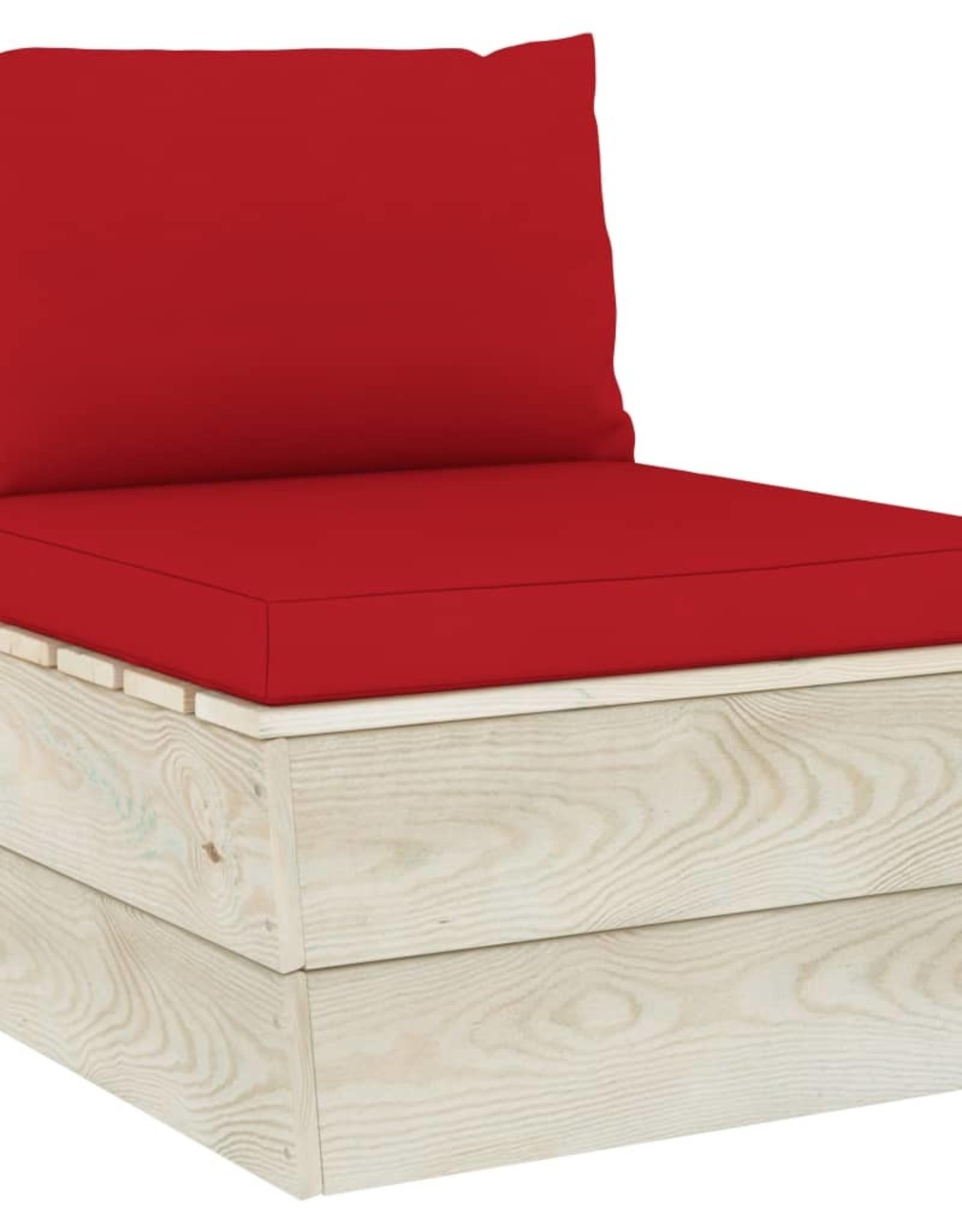 4-delige Loungeset met kussens pallet vurenhout