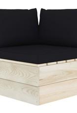 3-delige Loungeset met kussens pallet vurenhout