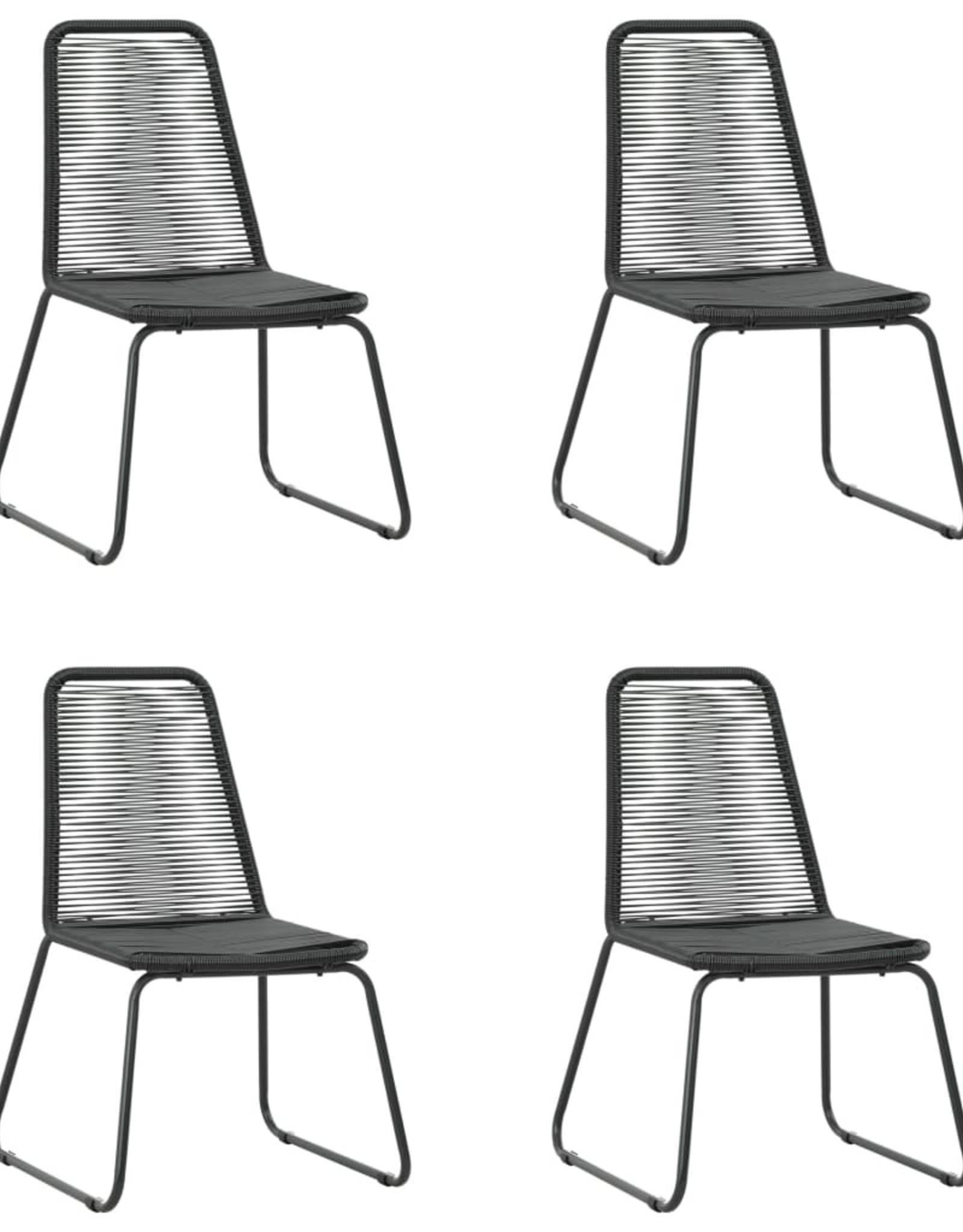 5-delige Tuinset PVC-rattan zwart en bruin