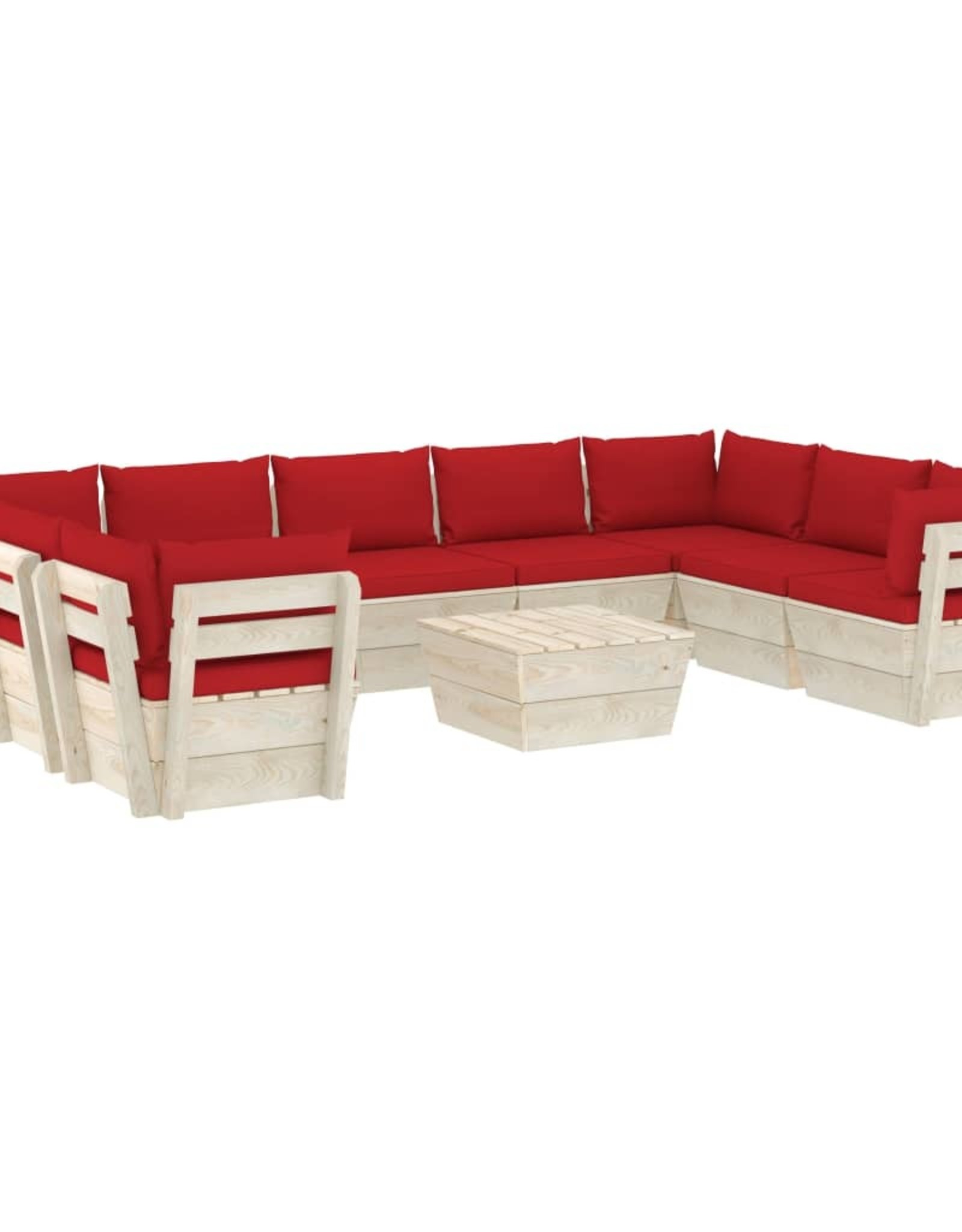 10-delige Loungeset met kussens pallet vurenhout