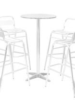 5-delige Barset met ronde tafel aluminium zilverkleurig