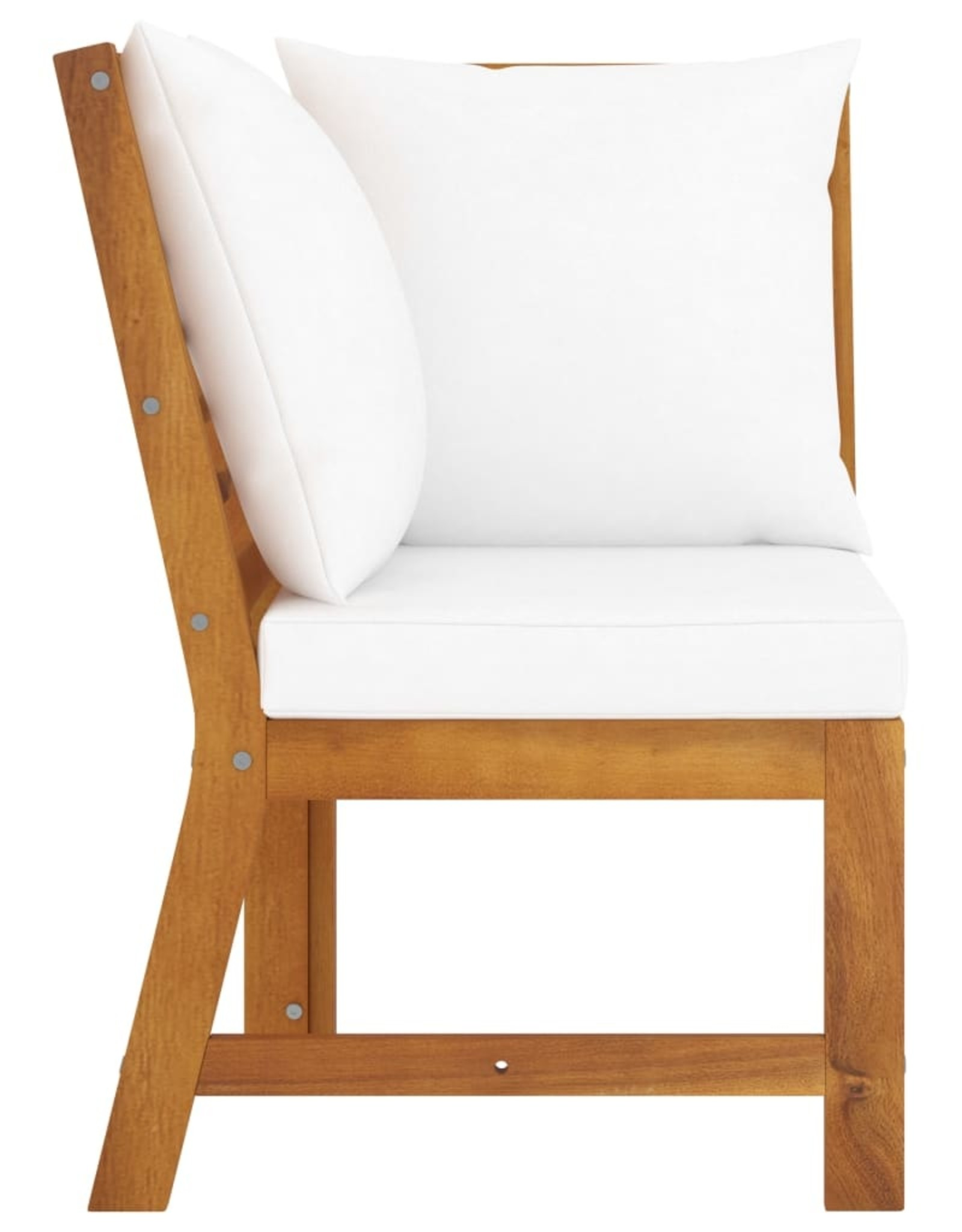 3-delige Loungeset met crèmekleurige kussens massief acaciahout