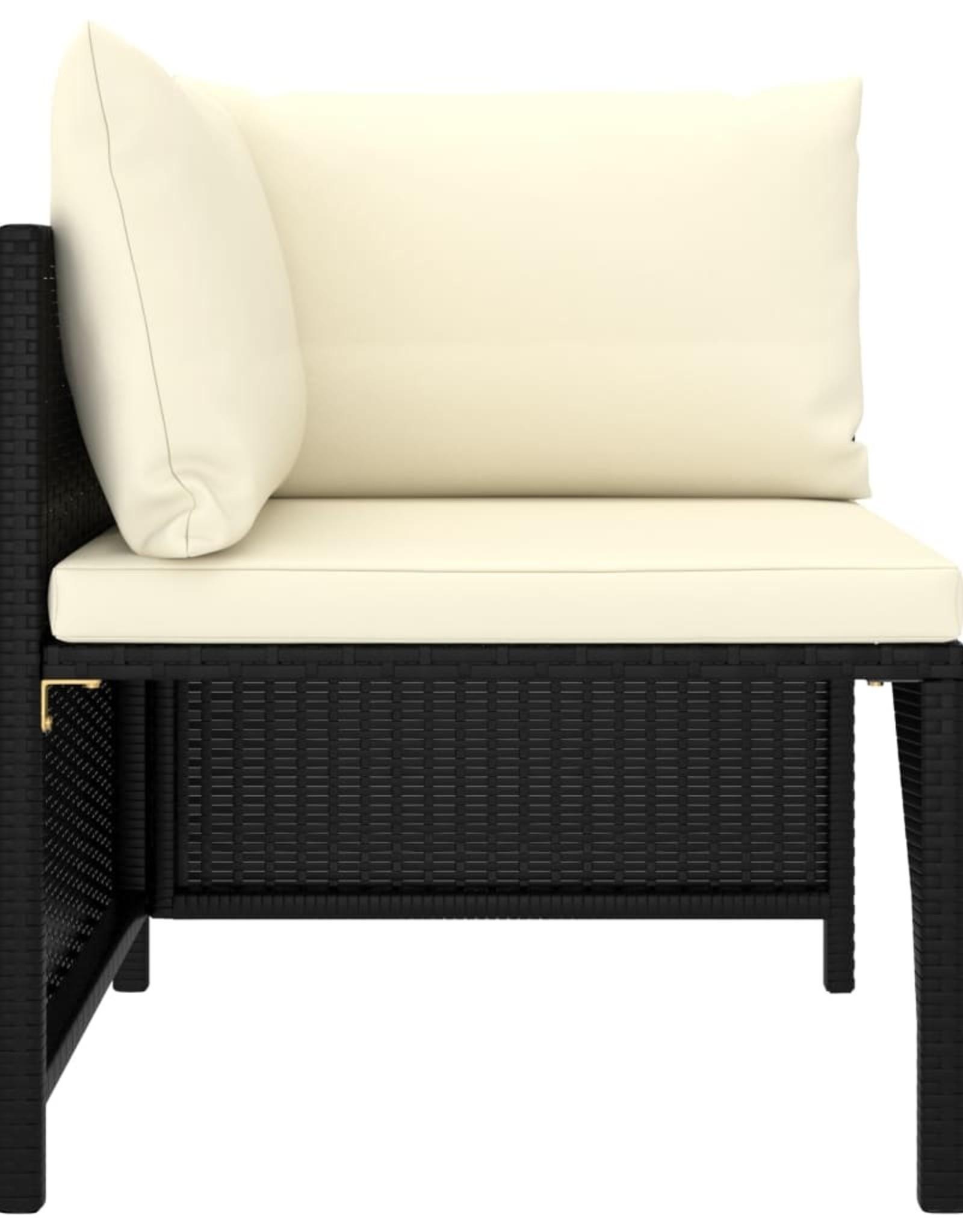 3-delige Loungeset met kussens poly rattan zwart