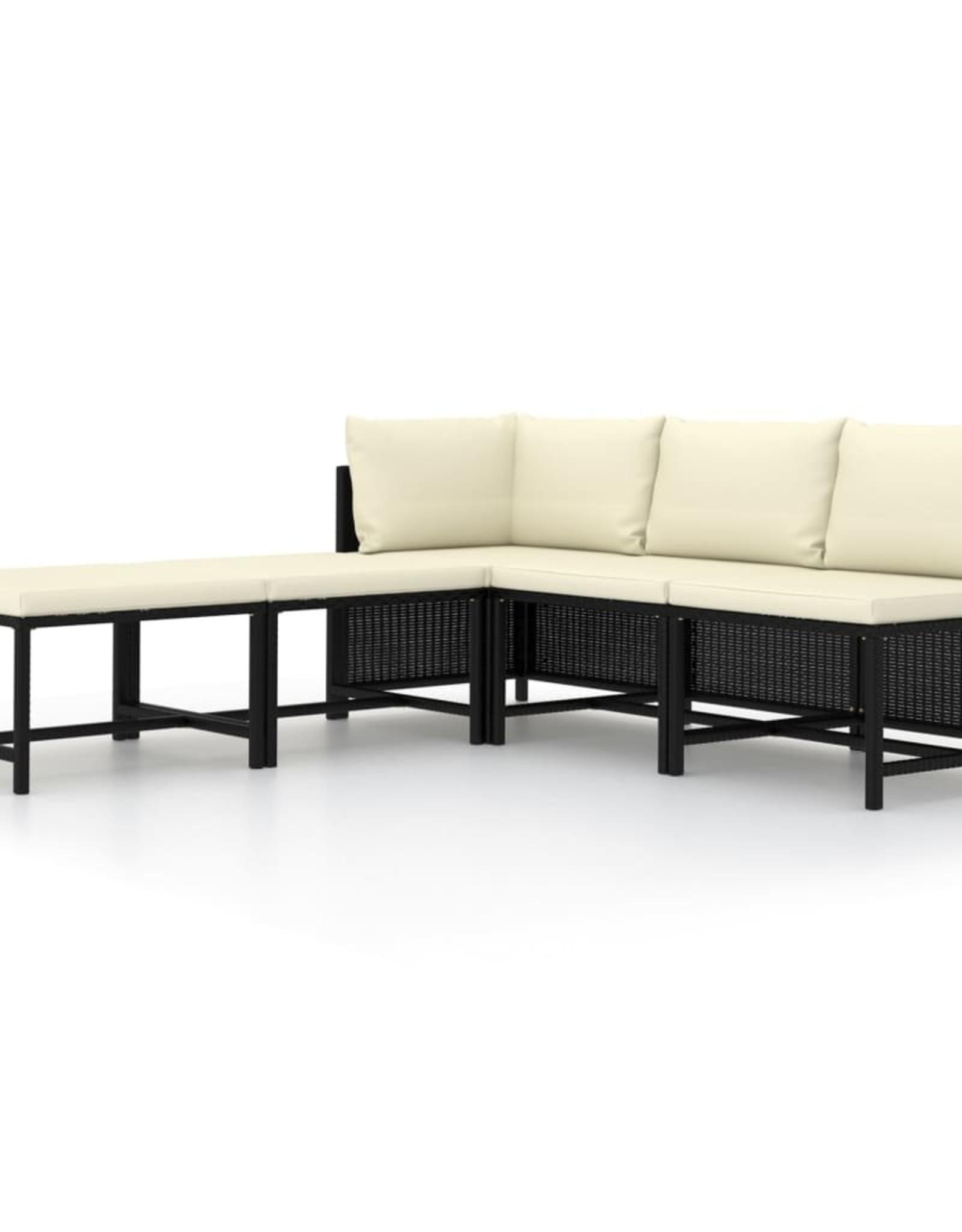 5-delige Loungeset met kussens poly rattan zwart