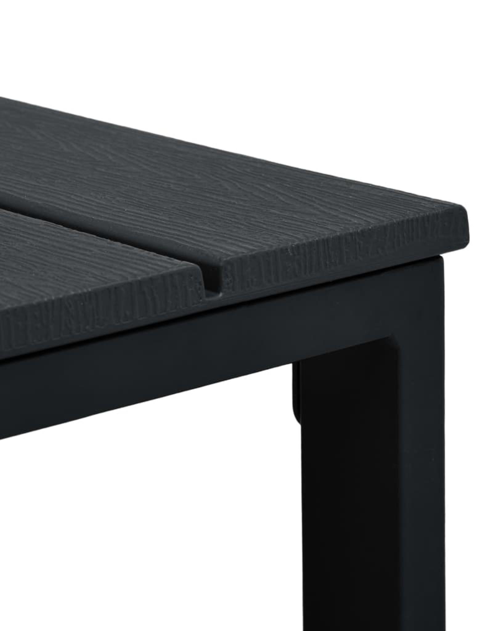 3-delige Bistroset hout-look HDPE zwart