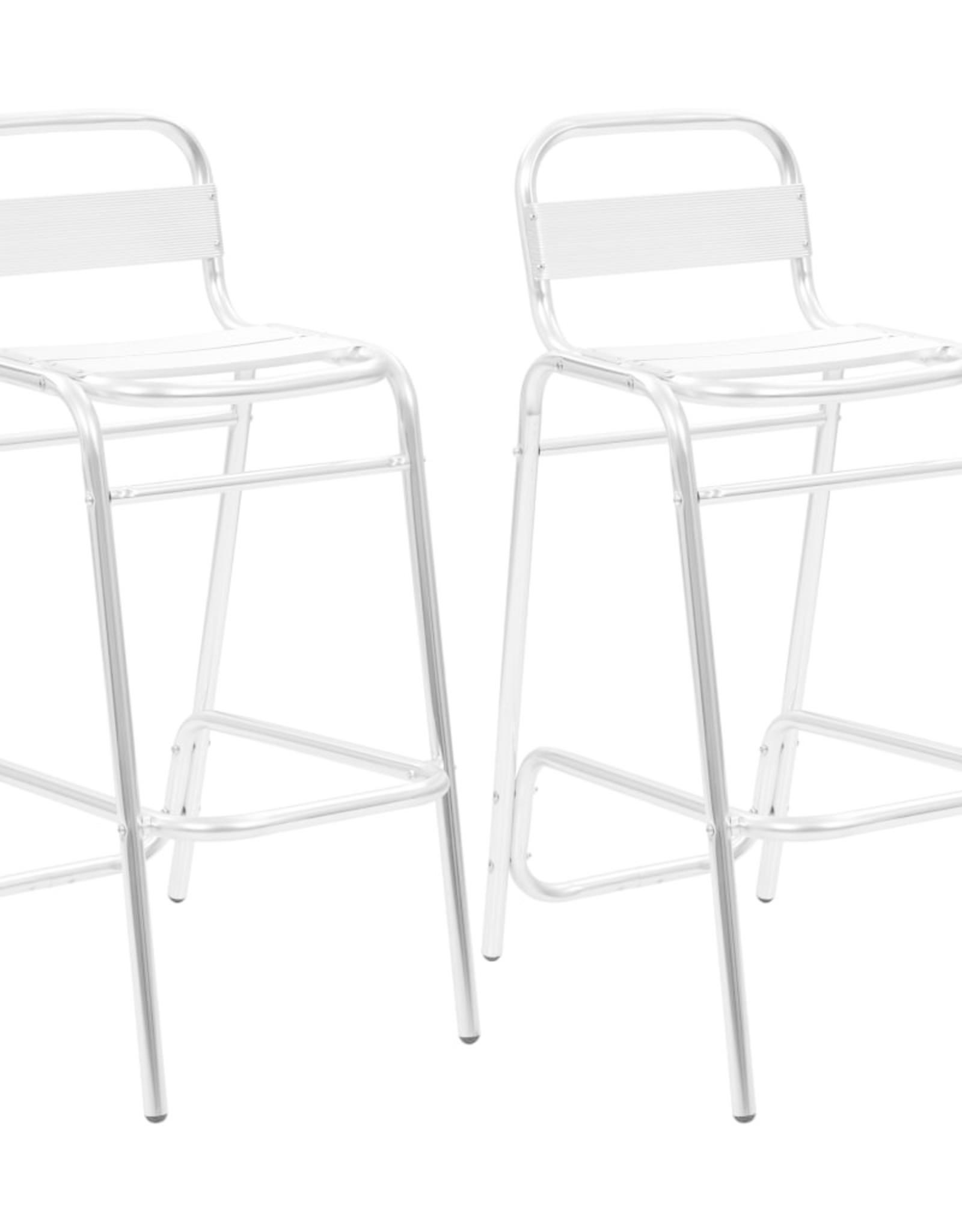 3-delige Barset met ronde tafel aluminium zilverkleurig