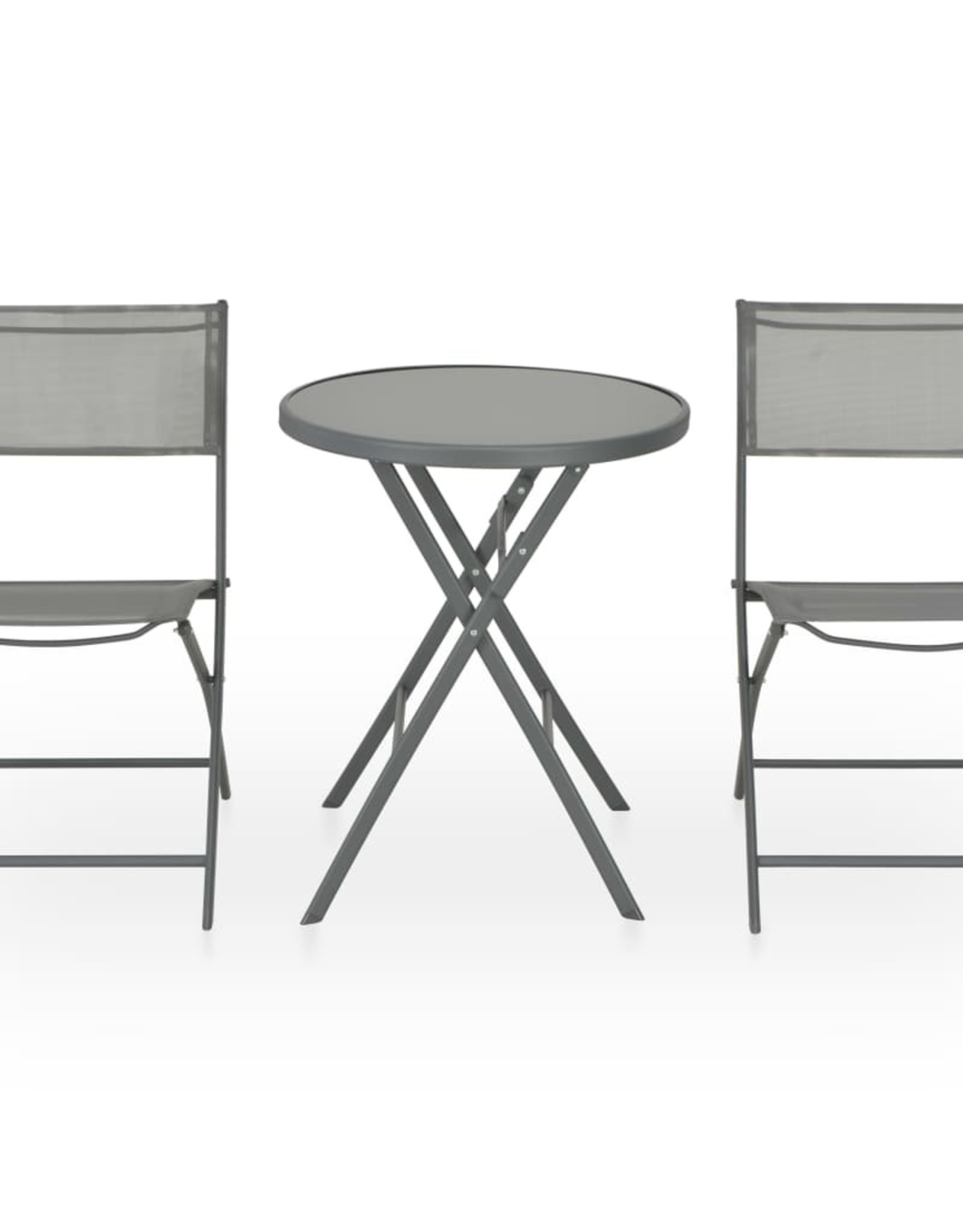 3-delige Bistroset inklapbaar staal en textileen grijs