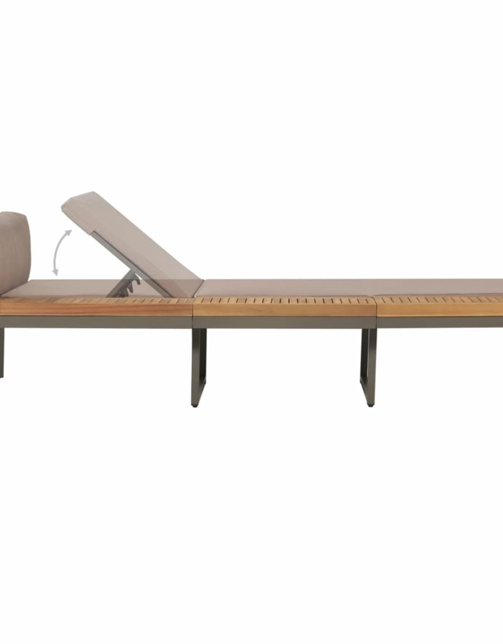 4-delige Loungeset met kussens massief acaciahout bruin