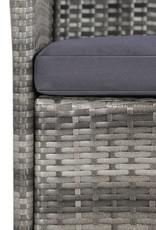 11-delige Tuinset met kussens poly rattan grijs