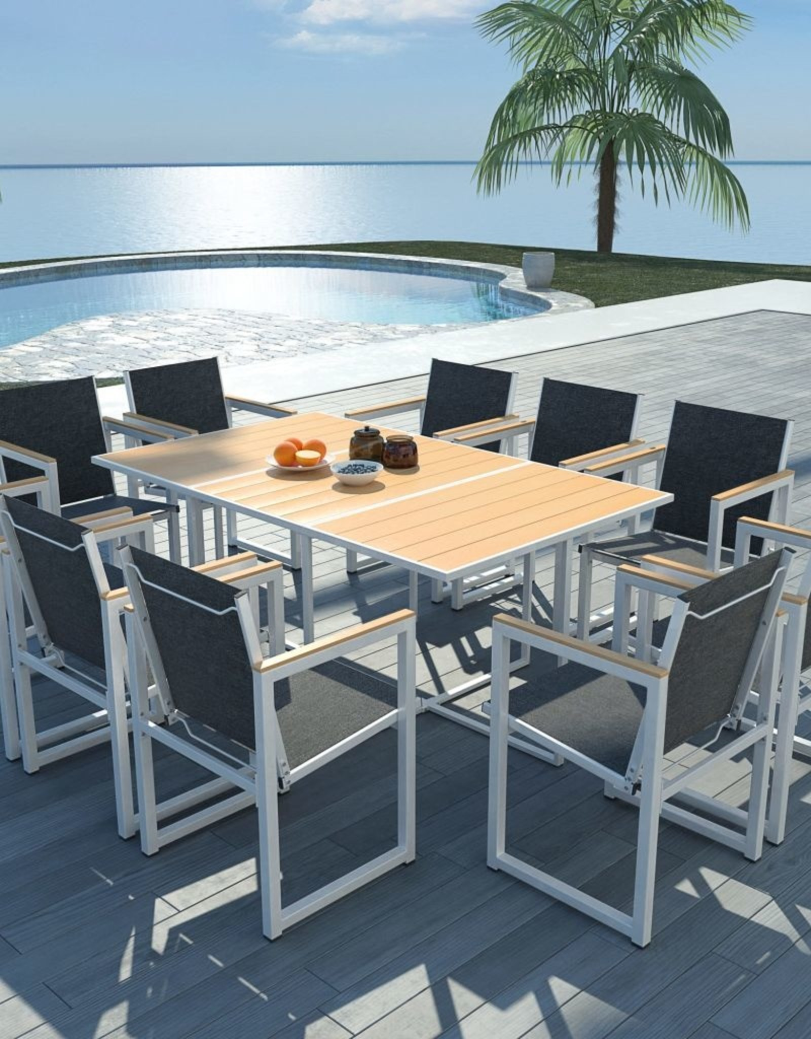 11-delige Tuinset met HKC tafelblad aluminium