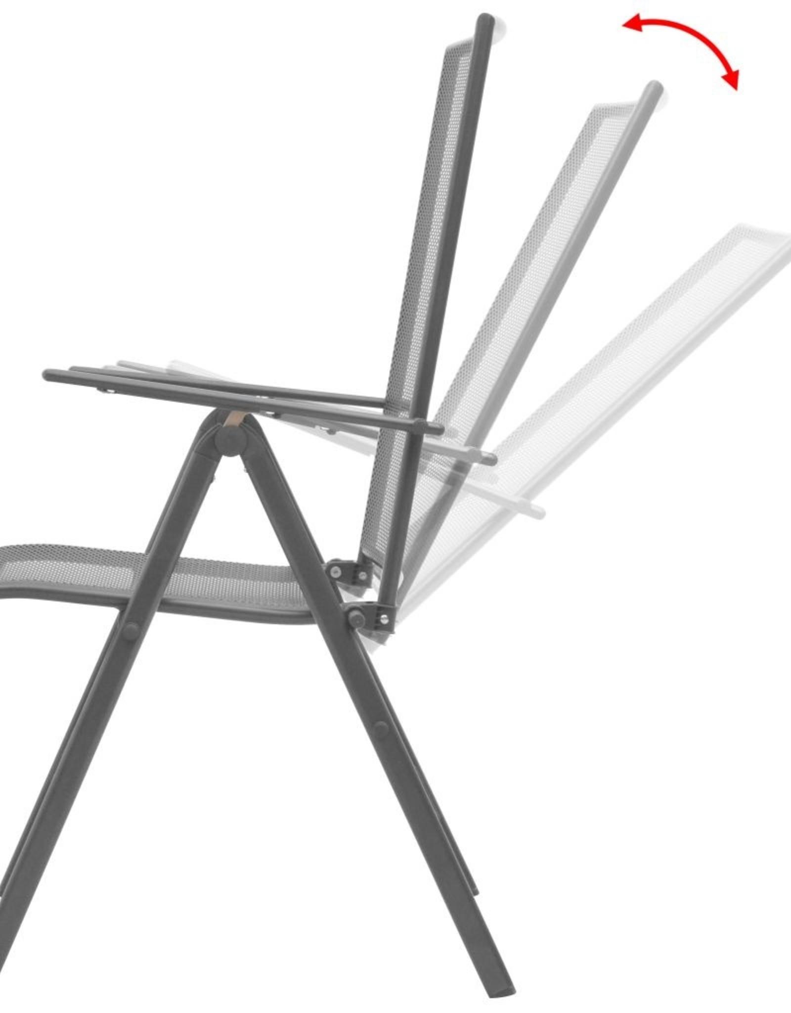 7-delige Tuinset met klapstoelen staal antraciet