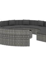 10-delige Loungeset met kussens poly rattan grijs