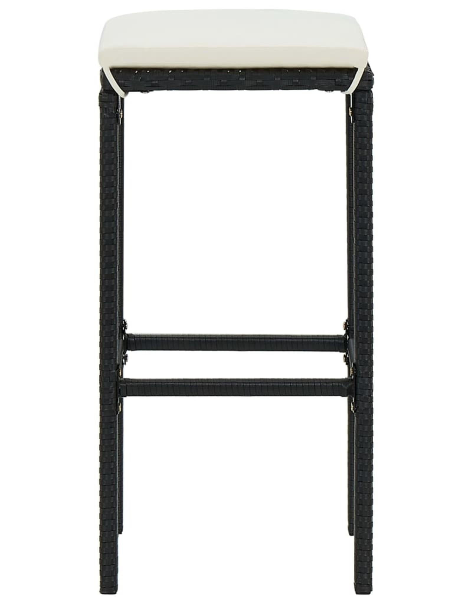 7-delige Tuinbarset met kussens zwart