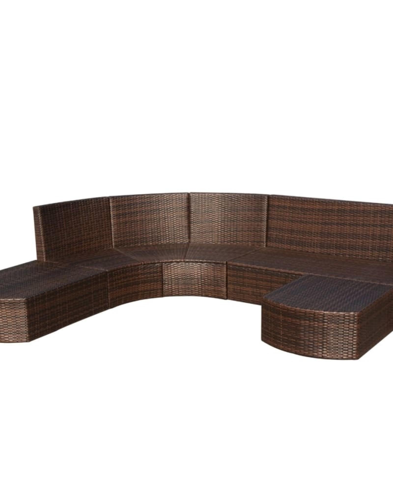 4-delige Loungeset met kussens poly rattan bruin