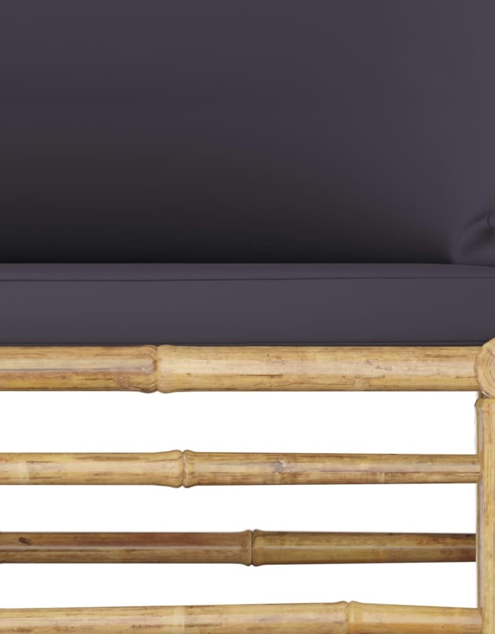 3-delige Loungeset met donkergrijze kussens bamboe