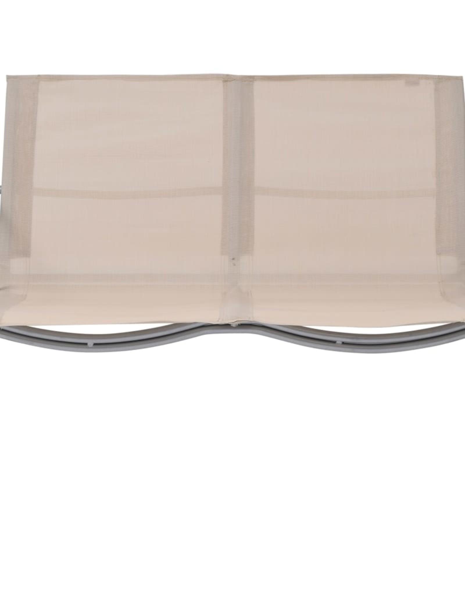 4-delige Loungeset stof en staal crèmekleurig