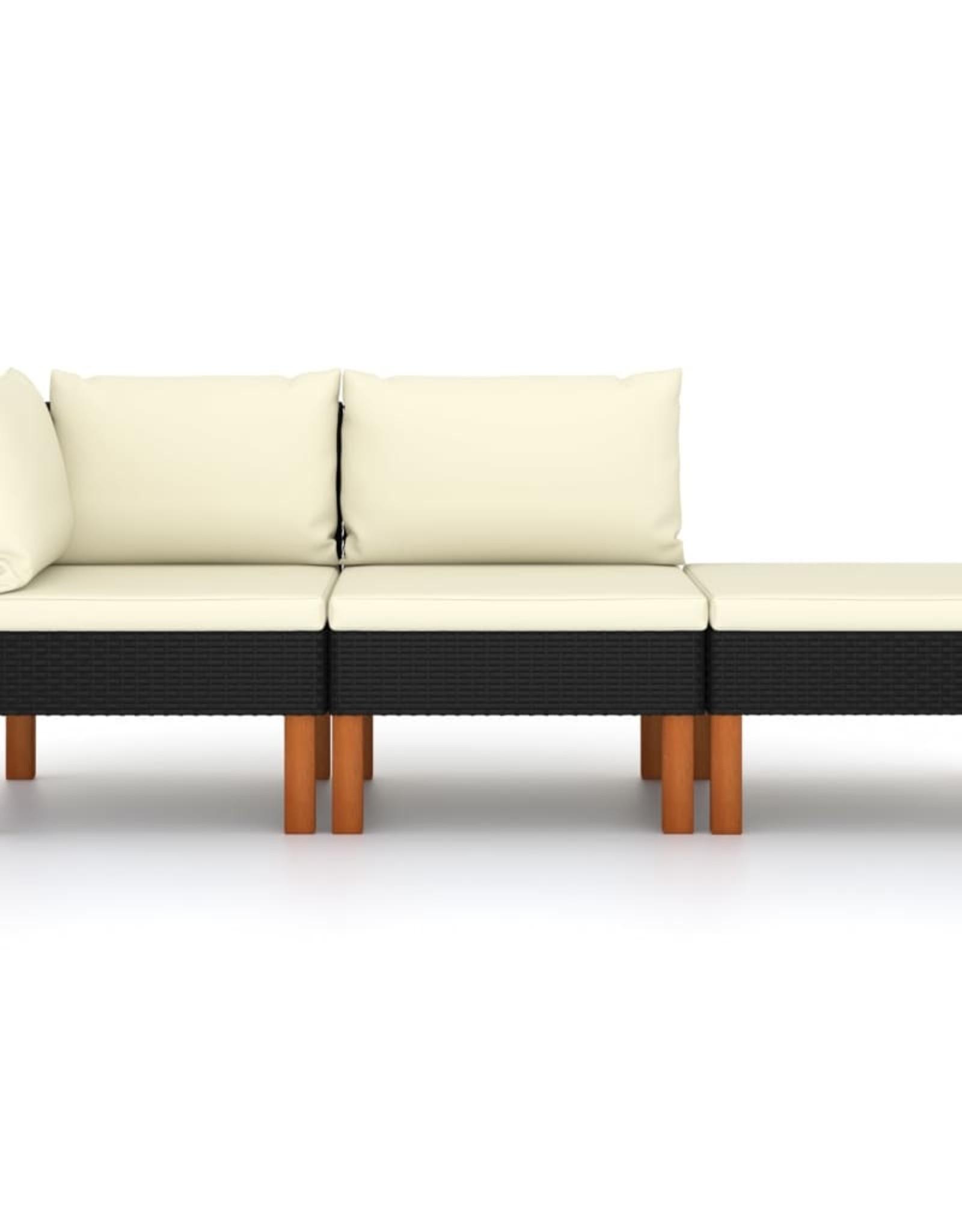 3-delige Loungeset poly rattan en massief eucalyptushout