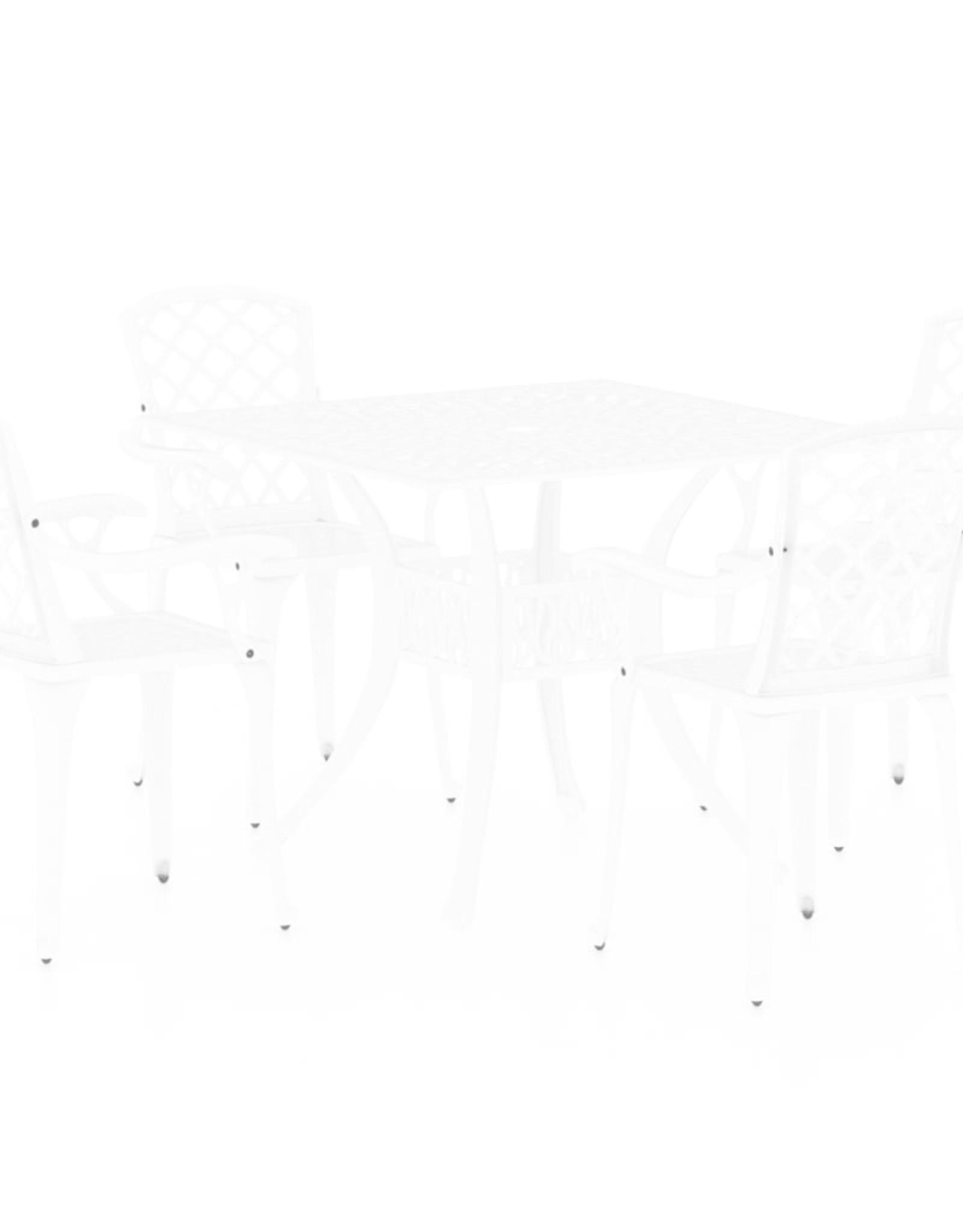 5-delige Bistroset gietaluminium wit