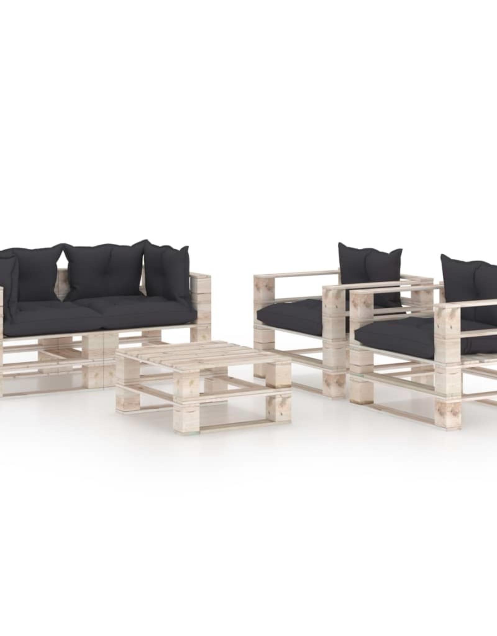 5-delige Loungeset met kussens pallet grenenhout