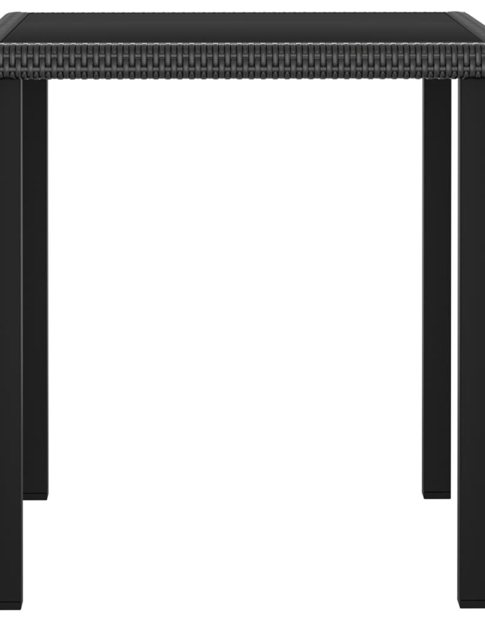 3-delige Tuinset poly rattan zwart