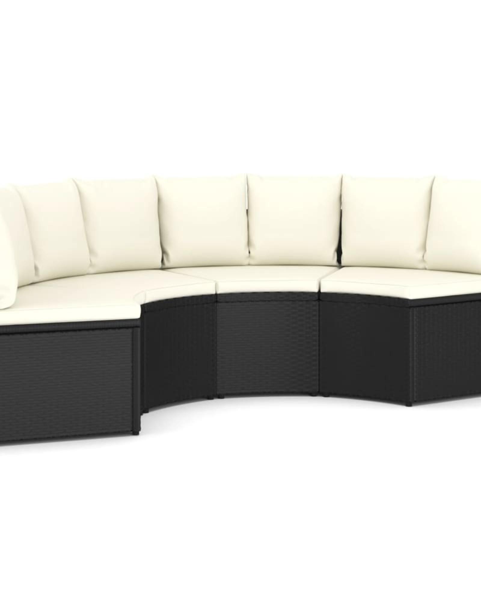 4-delige Loungeset met kussens poly rattan zwart