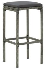 3-delige Tuinbarset met kussens poly rattan grijs