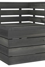 11-delige Loungeset pallet massief grenenhout donkergrijs
