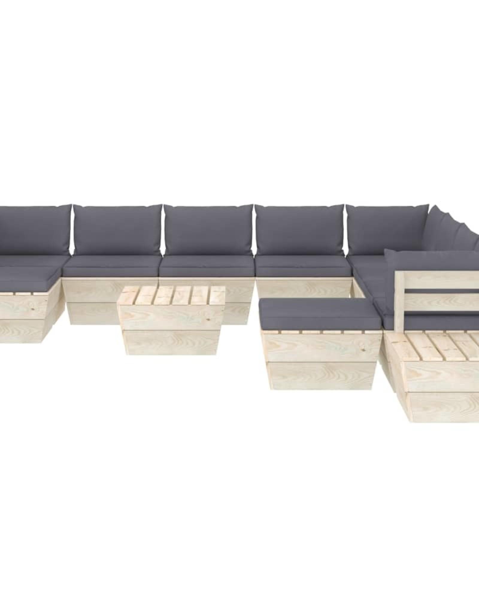 12-delige Loungeset met kussens pallet vurenhout